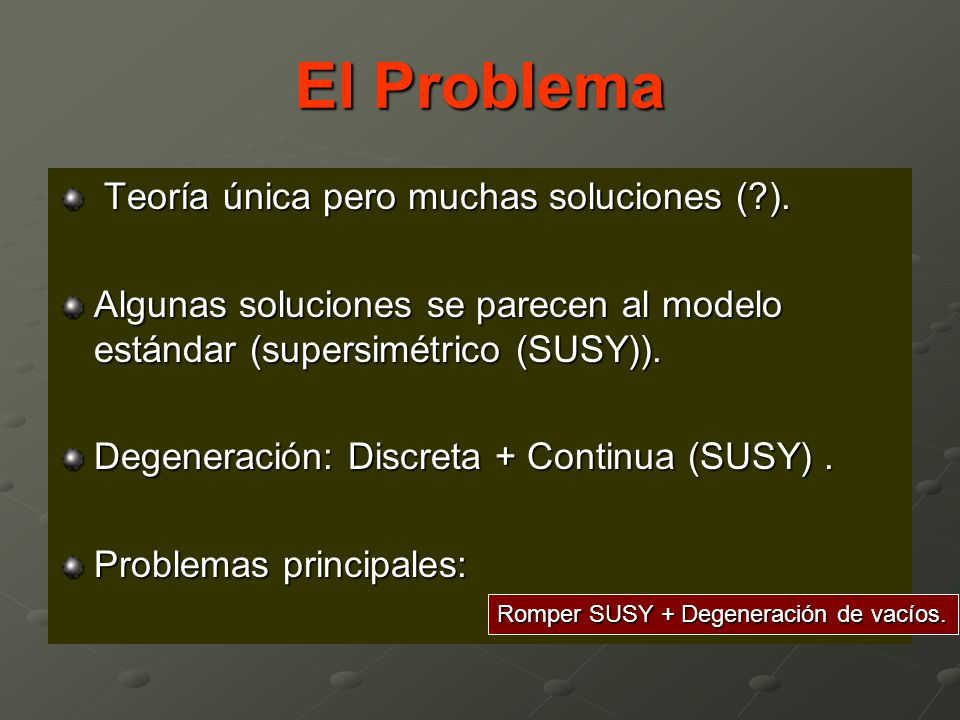El Problema Teoría única pero muchas soluciones ( ).