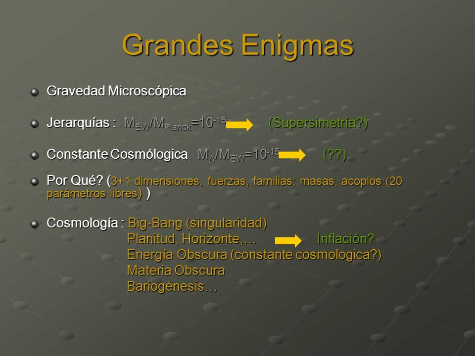Grandes Enigmas Gravedad Microscópica
