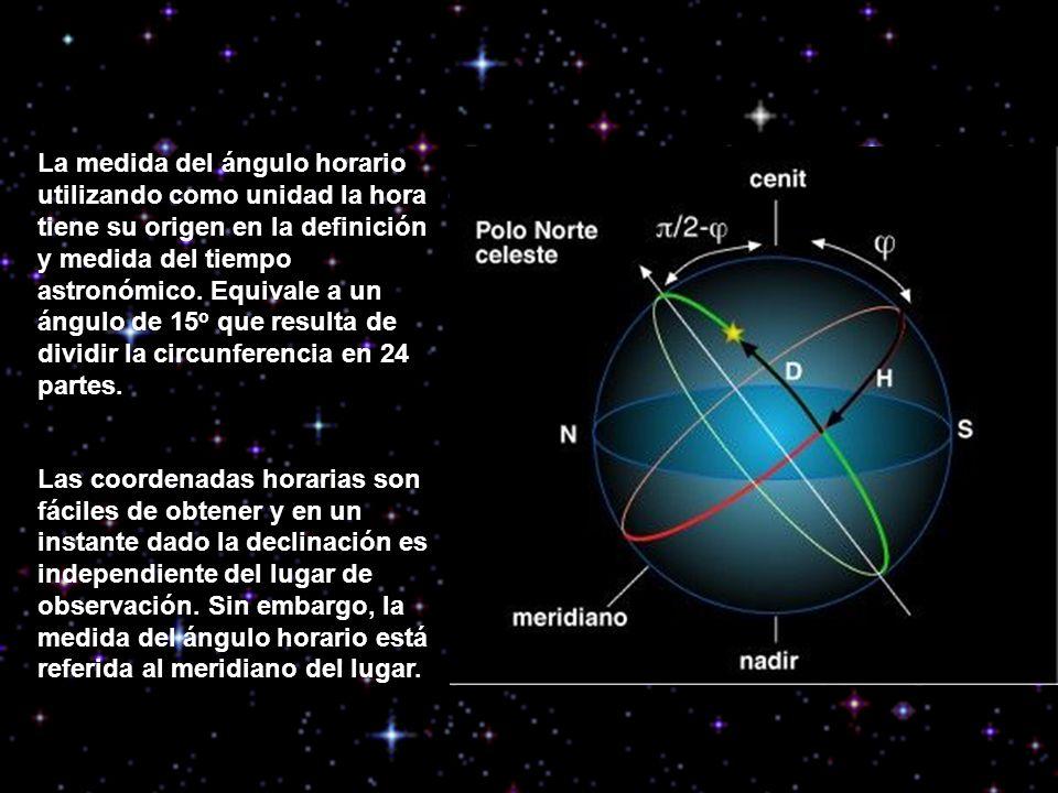 La medida del ángulo horario utilizando como unidad la hora tiene su origen en la definición y medida del tiempo astronómico. Equivale a un ángulo de 15o que resulta de dividir la circunferencia en 24 partes.