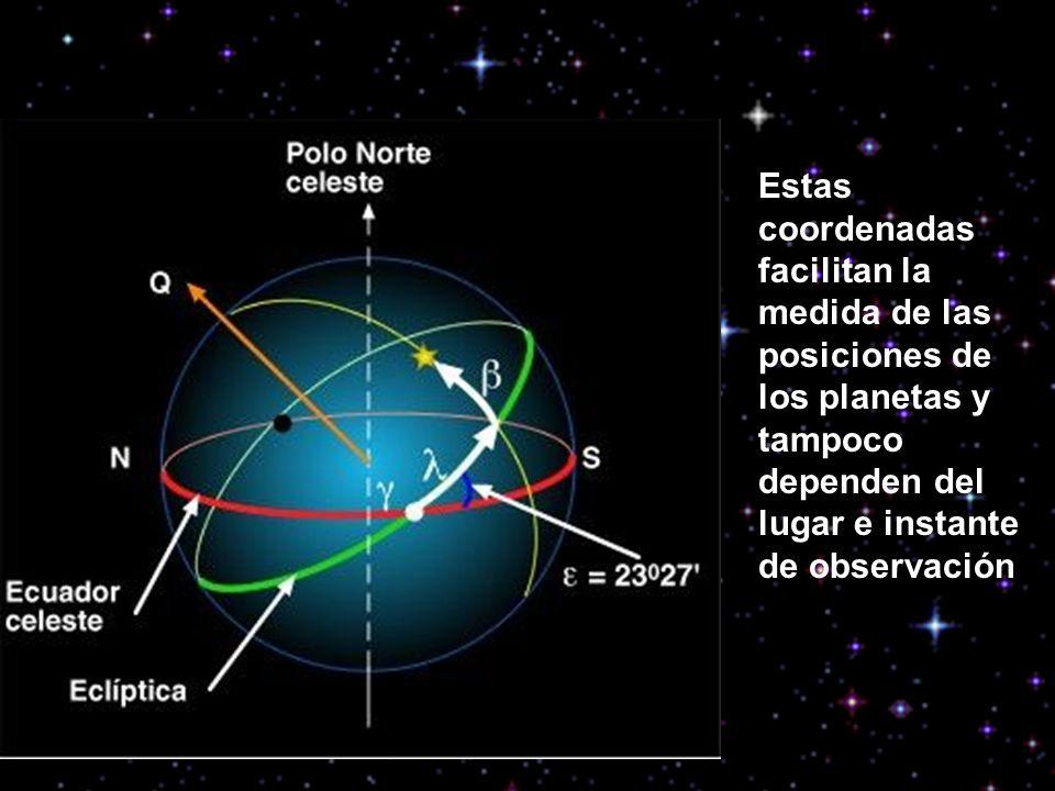 Estas coordenadas facilitan la medida de las posiciones de los planetas y tampoco dependen del lugar e instante de observación