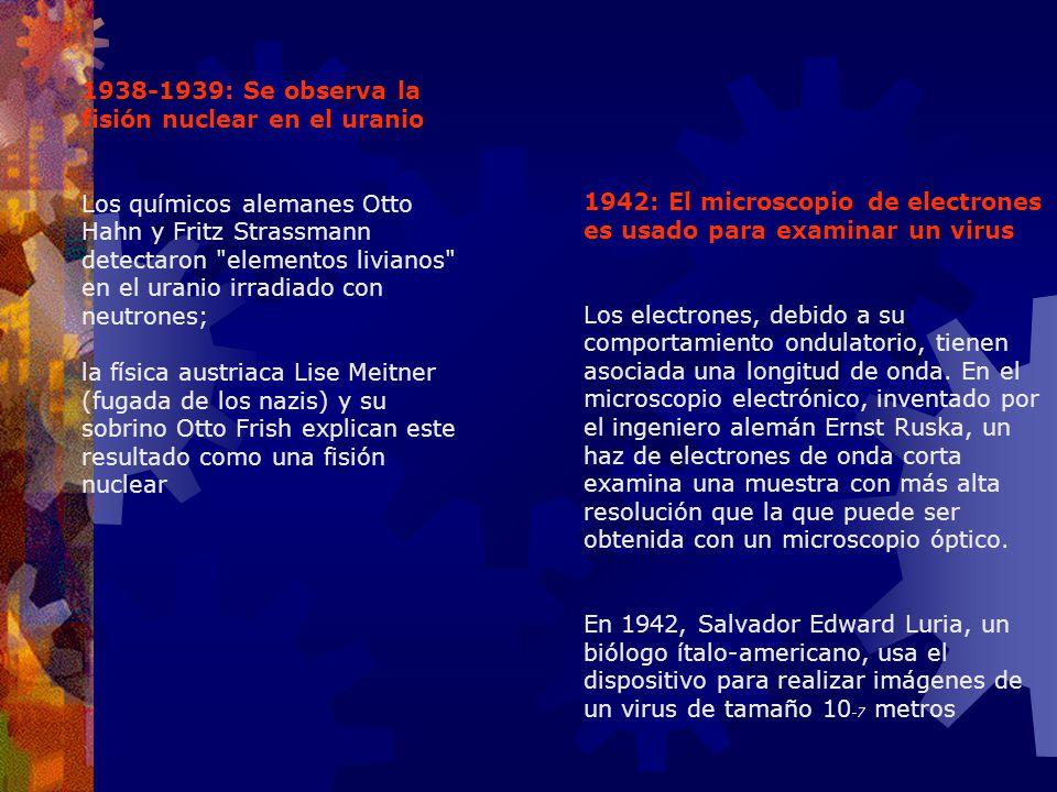1938-1939: Se observa la fisión nuclear en el uranio