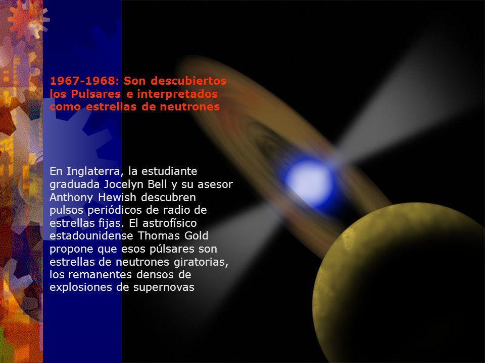 1967-1968: Son descubiertos los Pulsares e interpretados como estrellas de neutrones