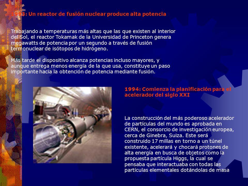 1993: Un reactor de fusión nuclear produce alta potencia