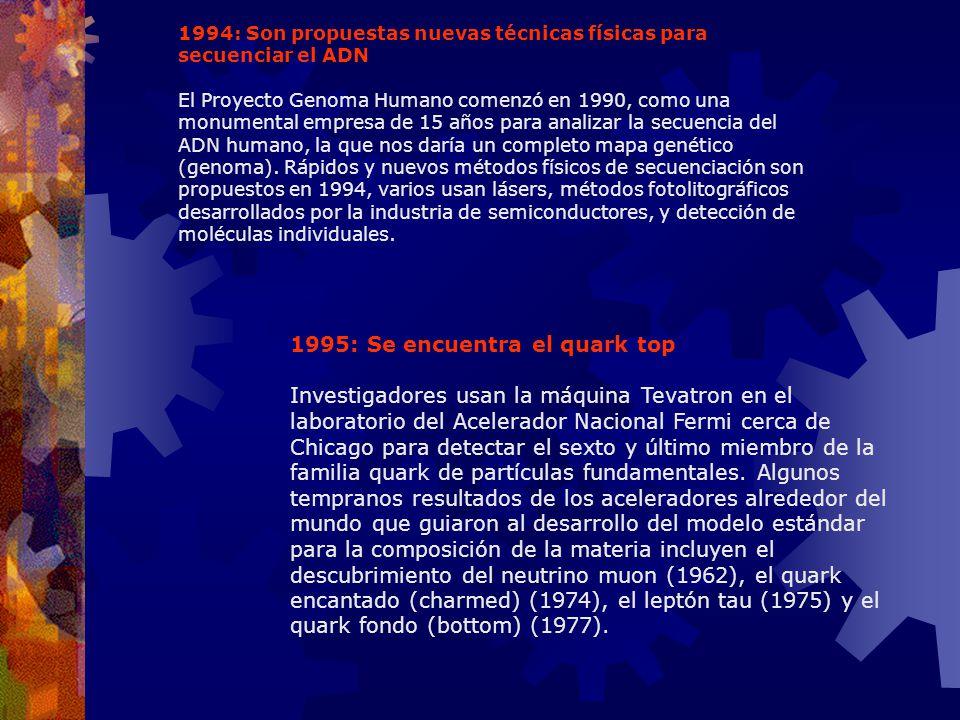 1995: Se encuentra el quark top