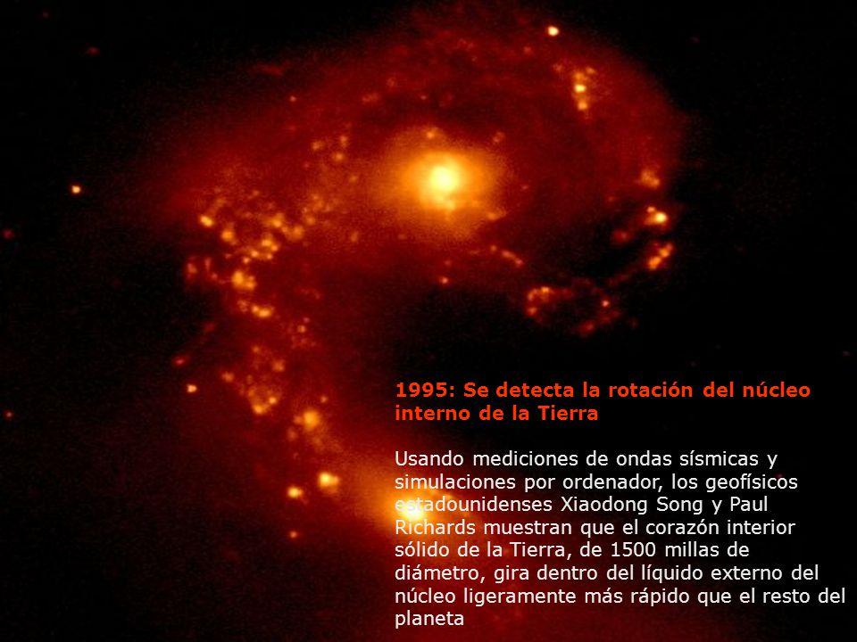 1995: Se detecta la rotación del núcleo interno de la Tierra