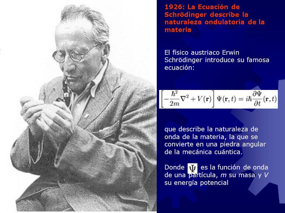1926: La Ecuación de Schrödinger describe la naturaleza ondulatoria de la materia