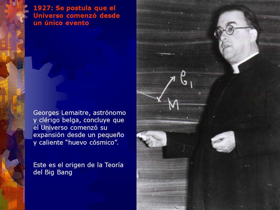 1927: Se postula que el Universo comenzó desde un único evento