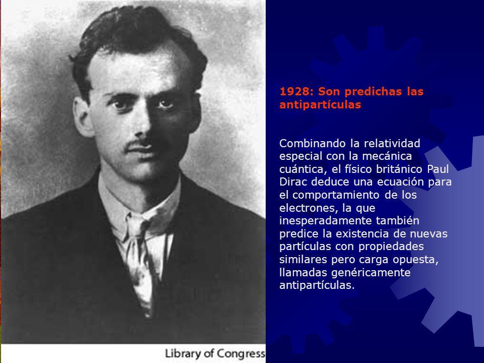 1928: Son predichas las antipartículas