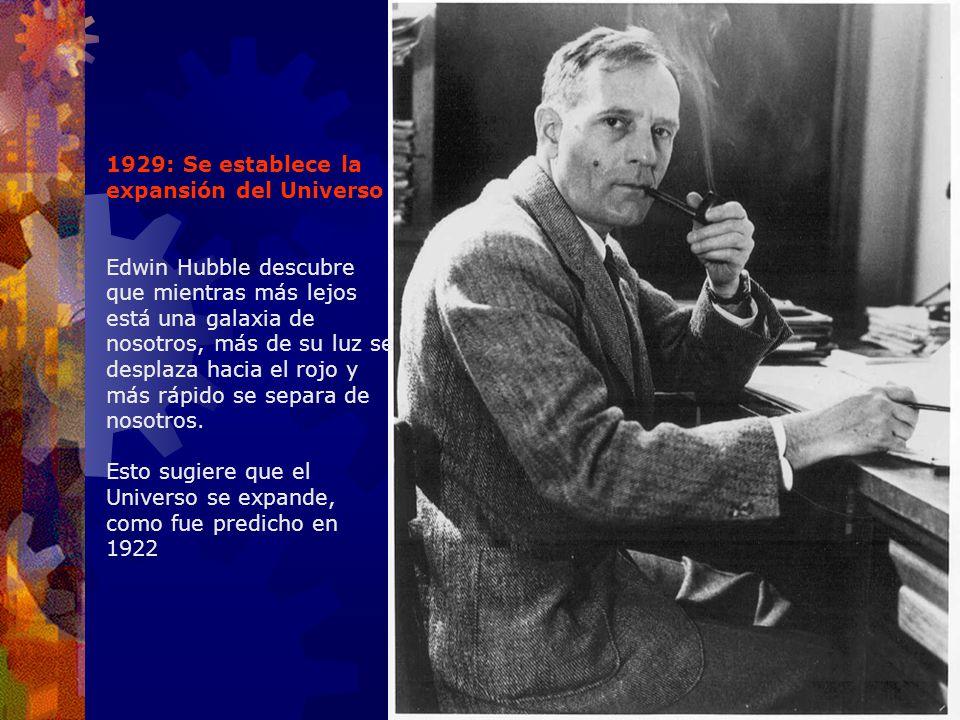 1929: Se establece la expansión del Universo