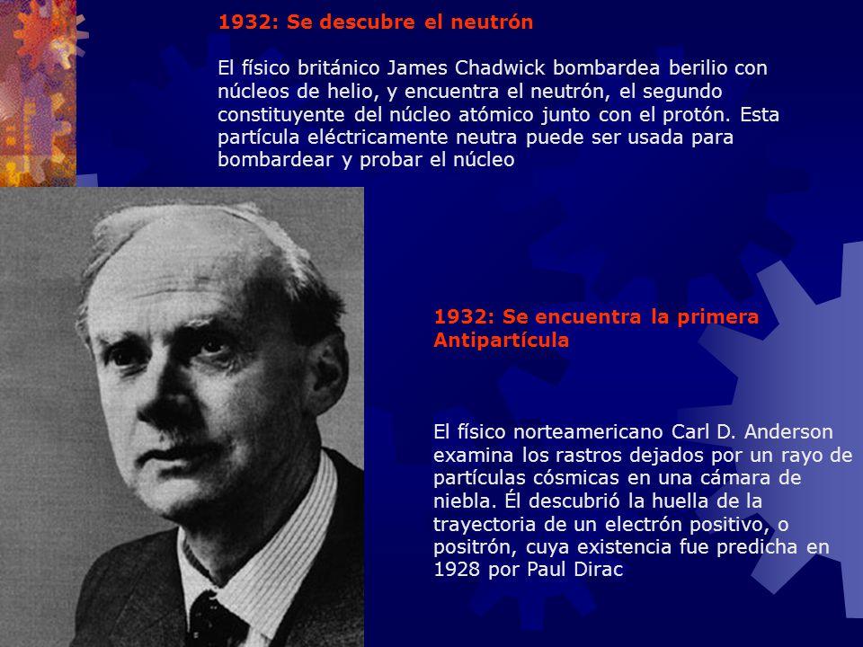 1932: Se descubre el neutrón
