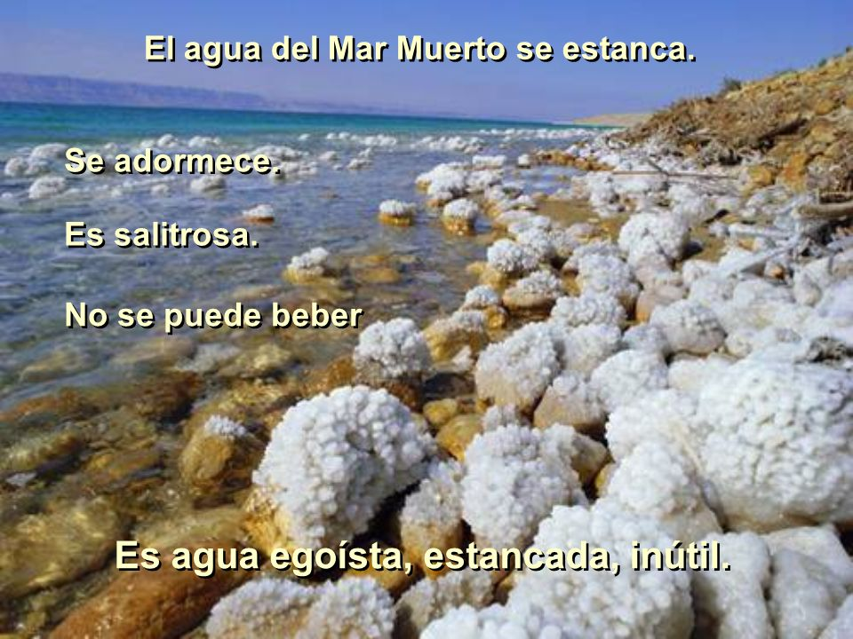 El agua del Mar Muerto se estanca. Es agua egoísta, estancada, inútil.