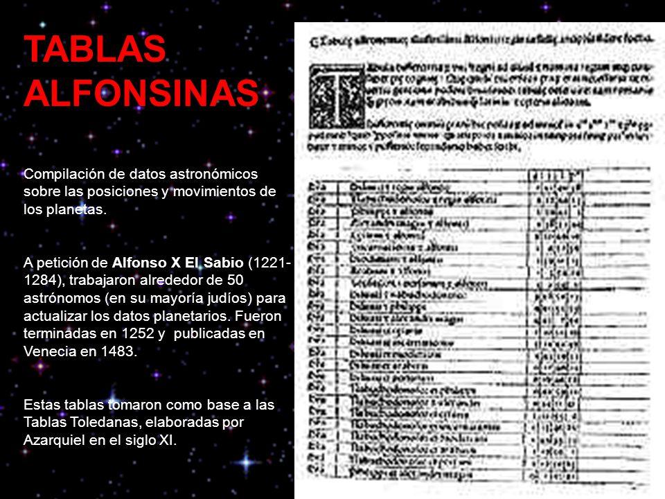 TABLAS ALFONSINAS Compilación de datos astronómicos sobre las posiciones y movimientos de los planetas.