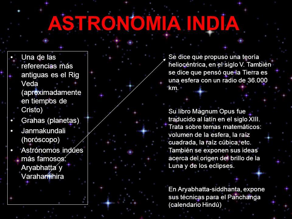 ASTRONOMIA INDIA Una de las referencias más antiguas es el Rig Veda (aproximadamente en tiempos de Cristo)