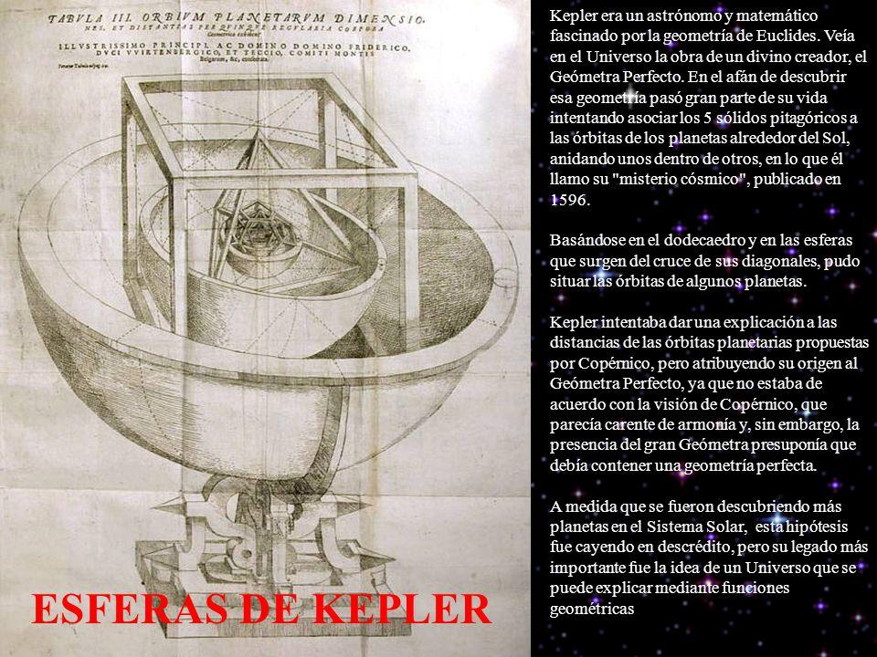 Kepler era un astrónomo y matemático fascinado por la geometría de Euclides. Veía en el Universo la obra de un divino creador, el Geómetra Perfecto. En el afán de descubrir esa geometría pasó gran parte de su vida intentando asociar los 5 sólidos pitagóricos a las órbitas de los planetas alrededor del Sol, anidando unos dentro de otros, en lo que él llamo su misterio cósmico , publicado en 1596. Basándose en el dodecaedro y en las esferas que surgen del cruce de sus diagonales, pudo situar las órbitas de algunos planetas.