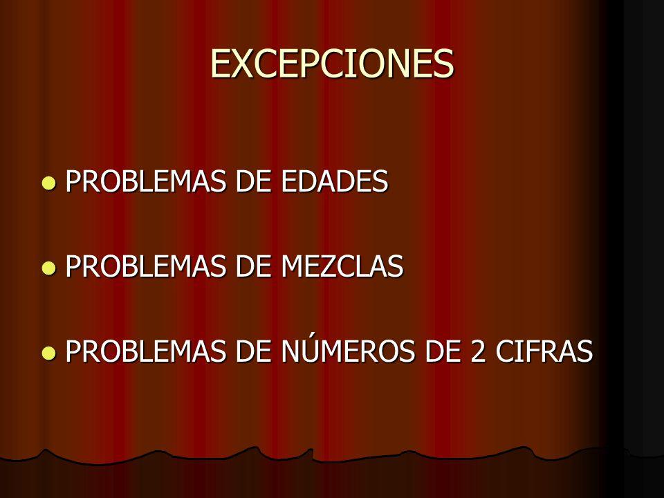 EXCEPCIONES PROBLEMAS DE EDADES PROBLEMAS DE MEZCLAS