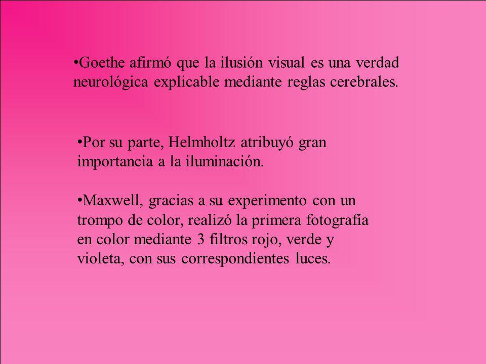 Goethe afirmó que la ilusión visual es una verdad neurológica explicable mediante reglas cerebrales.