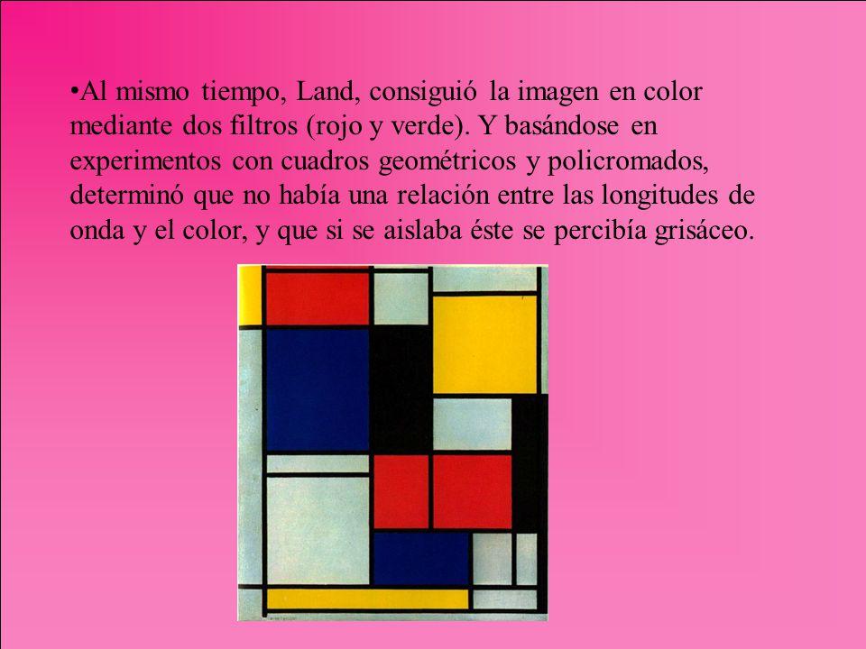 Al mismo tiempo, Land, consiguió la imagen en color mediante dos filtros (rojo y verde).