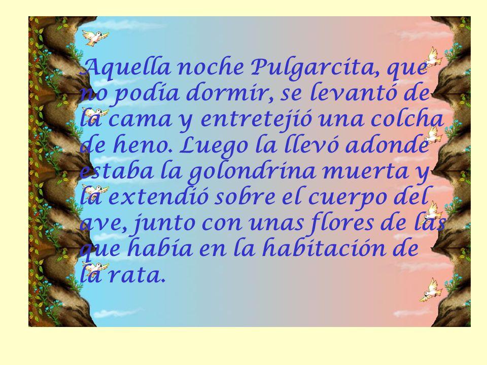 Aquella noche Pulgarcita, que no podía dormir, se levantó de la cama y entretejió una colcha de heno.