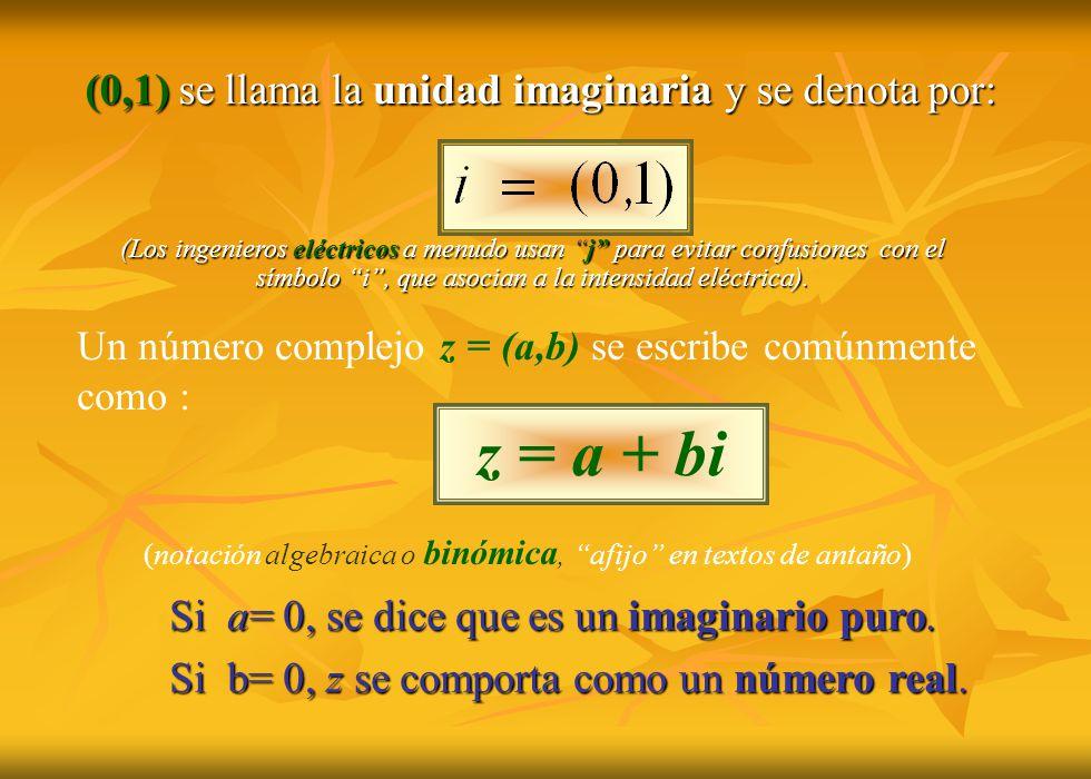 z = a + bi (0,1) se llama la unidad imaginaria y se denota por: