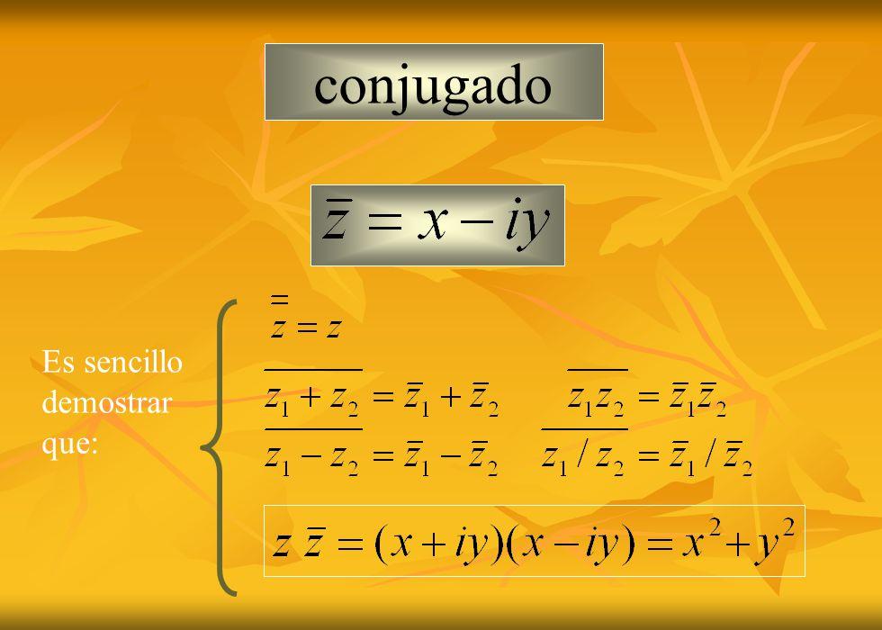 conjugado Es sencillo demostrar que: