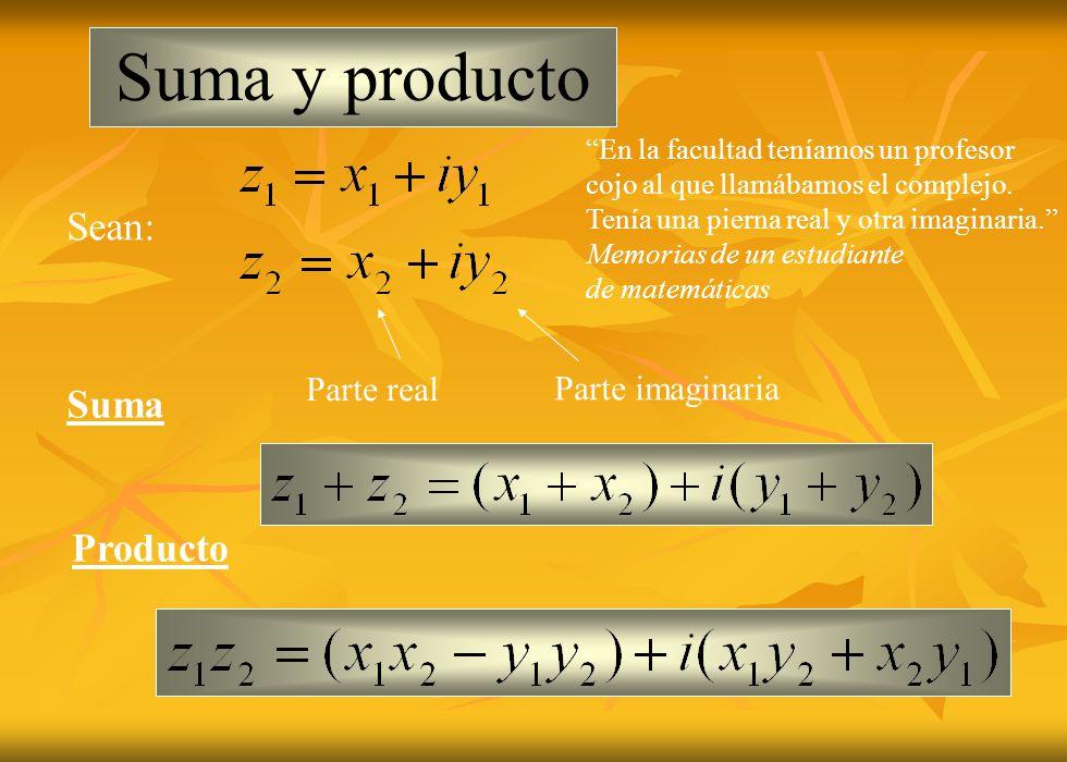 Suma y producto Sean: Suma Producto Parte real Parte imaginaria