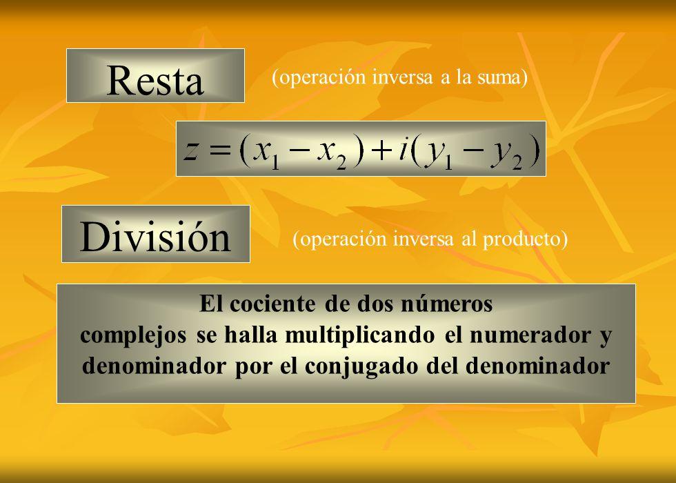 Resta División El cociente de dos números