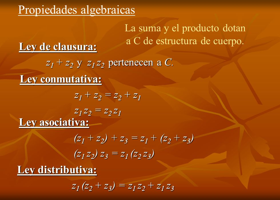 Propiedades algebraicas