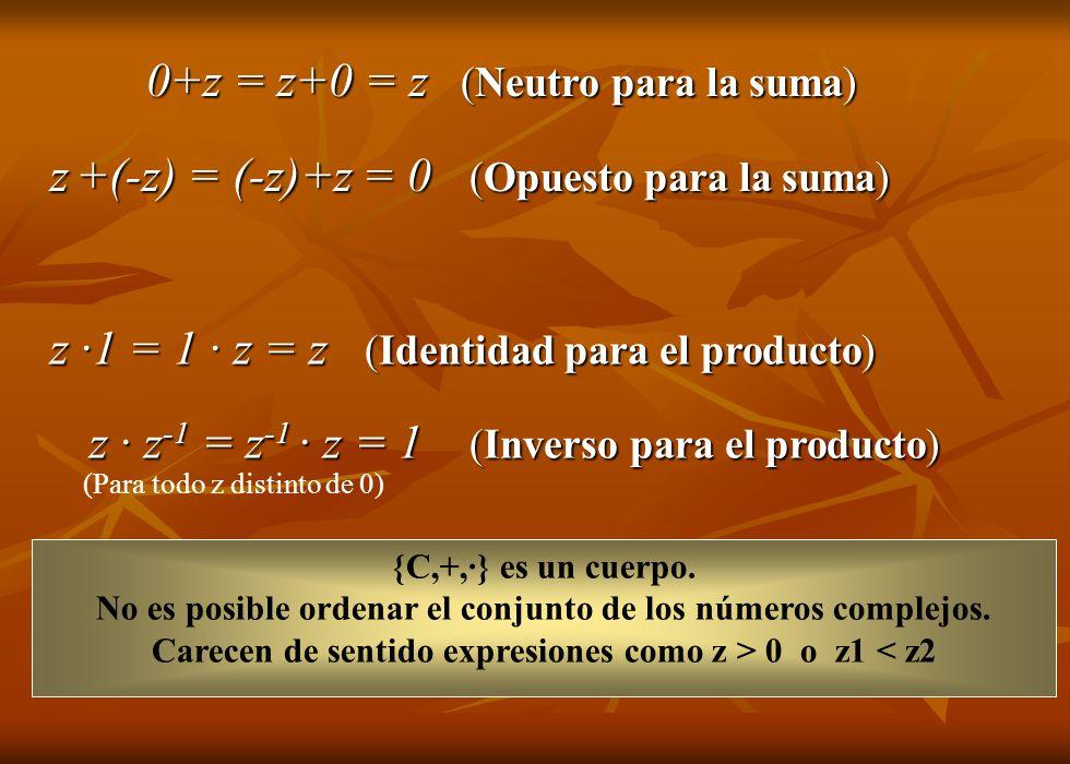 z +(-z) = (-z)+z = 0 (Opuesto para la suma)