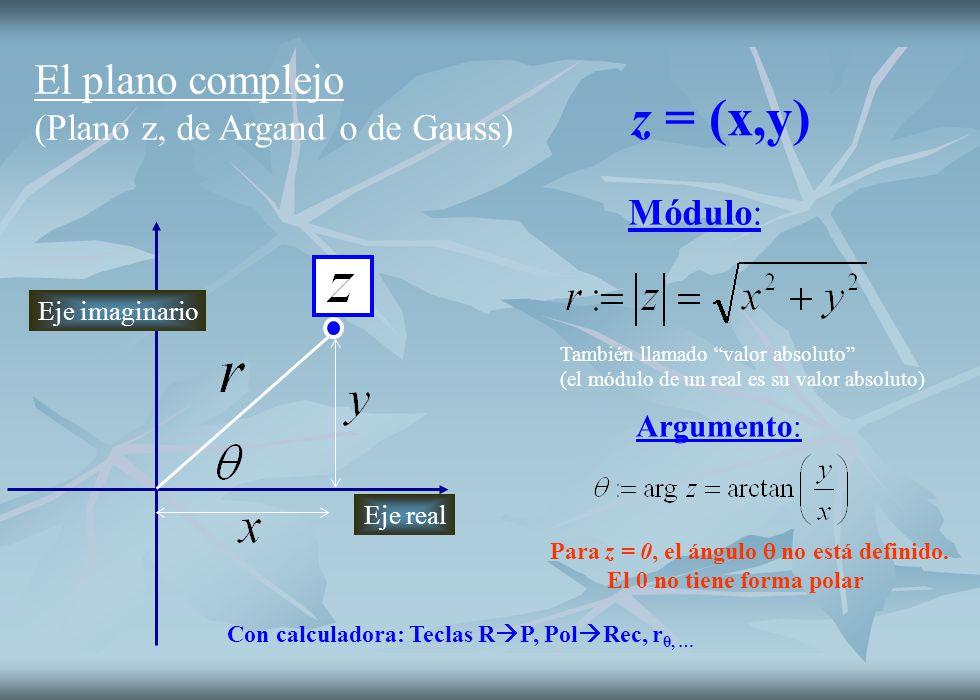 z = (x,y) El plano complejo (Plano z, de Argand o de Gauss) Módulo: