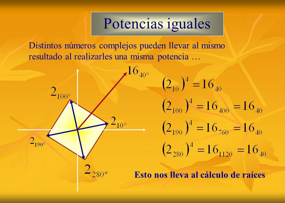 Potencias iguales Distintos números complejos pueden llevar al mismo resultado al realizarles una misma potencia …