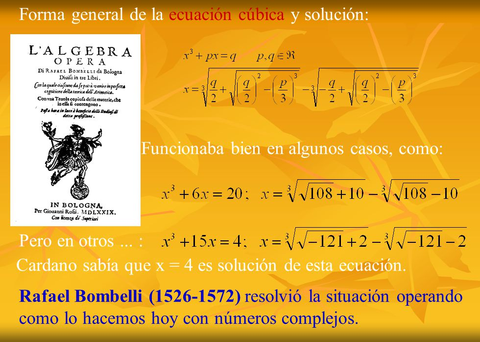 Cardano sabía que x = 4 es solución de esta ecuación.