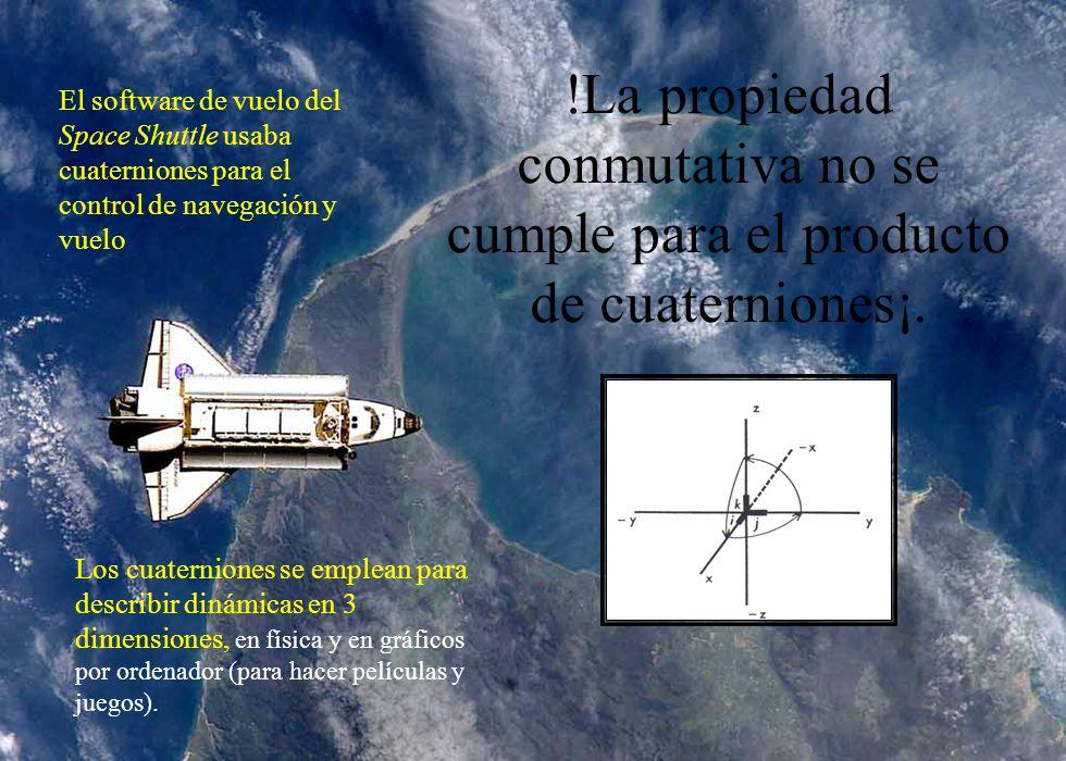 !La propiedad conmutativa no se cumple para el producto de cuaterniones¡.