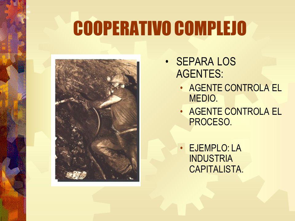 COOPERATIVO COMPLEJO SEPARA LOS AGENTES: AGENTE CONTROLA EL MEDIO.