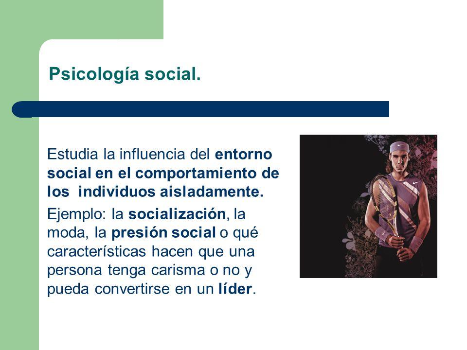 Psicología social. Estudia la influencia del entorno social en el comportamiento de los individuos aisladamente.