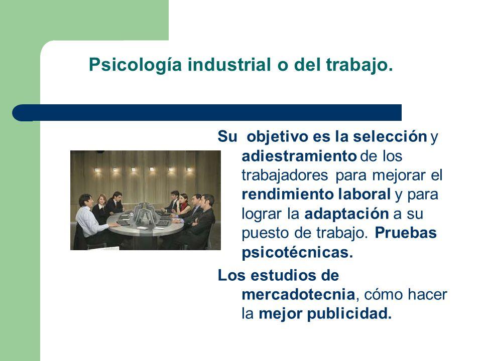 Psicología industrial o del trabajo.
