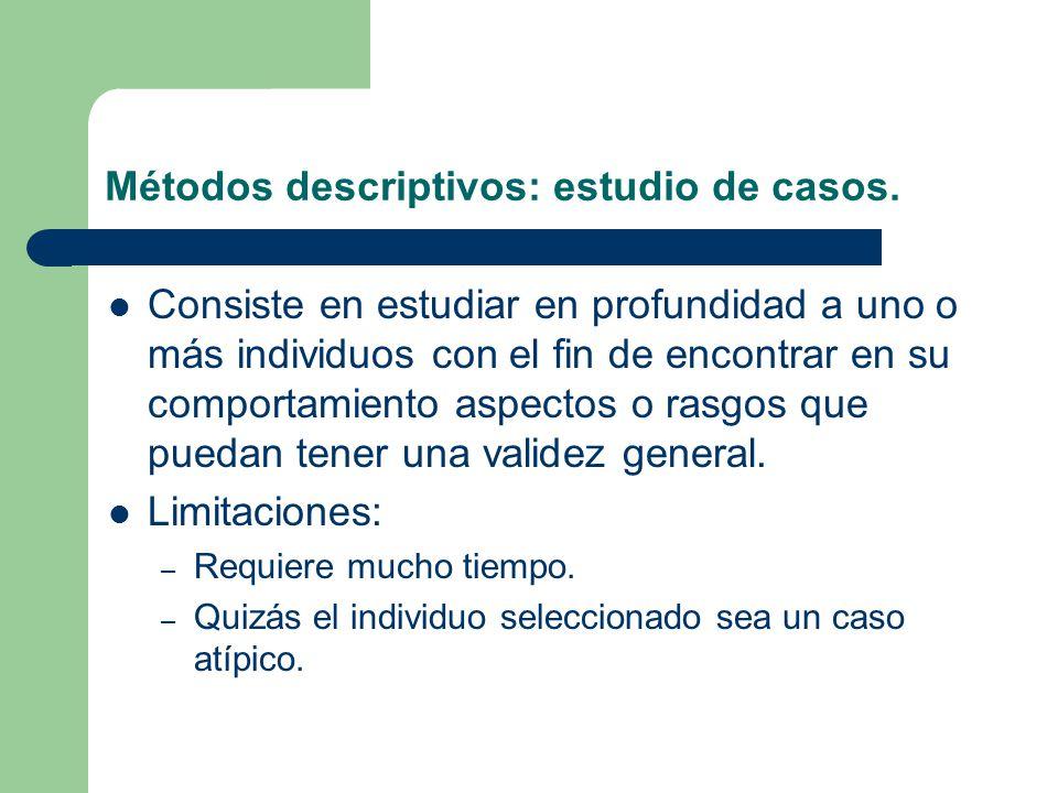 Métodos descriptivos: estudio de casos.