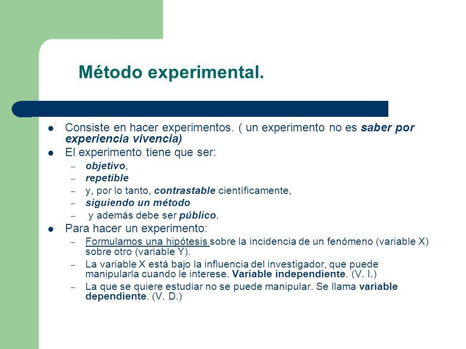 Método experimental. Consiste en hacer experimentos. ( un experimento no es saber por experiencia vivencia)
