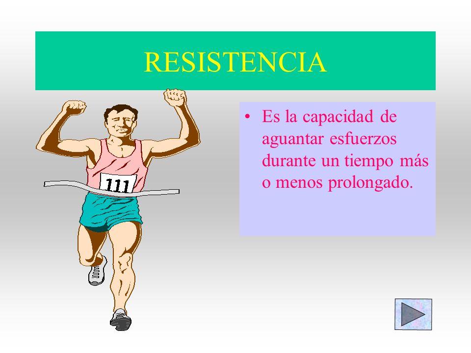 RESISTENCIA Es la capacidad de aguantar esfuerzos durante un tiempo más o menos prolongado.