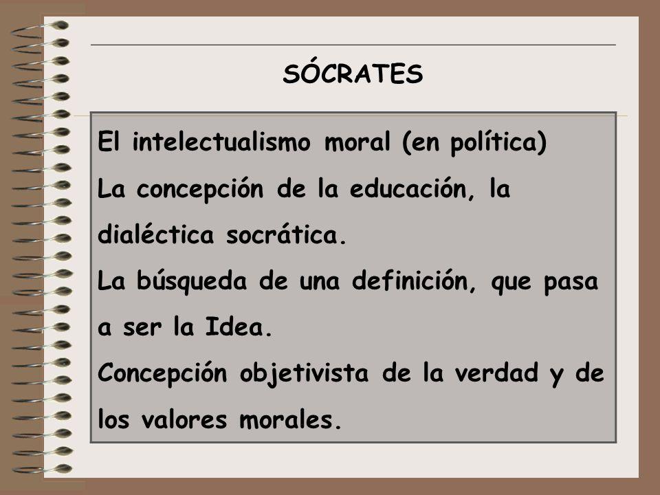 Sócrates El intelectualismo moral (en política) La concepción de la educación, la dialéctica socrática.