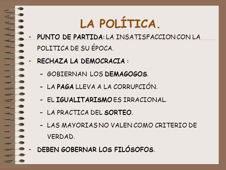 LA POLÍTICA. PUNTO DE PARTIDA: LA INSATISFACCION CON LA POLITICA DE SU ÉPOCA. RECHAZA LA DEMOCRACIA :