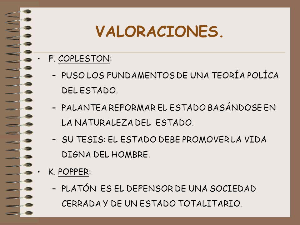 VALORACIONES. F. COPLESTON: