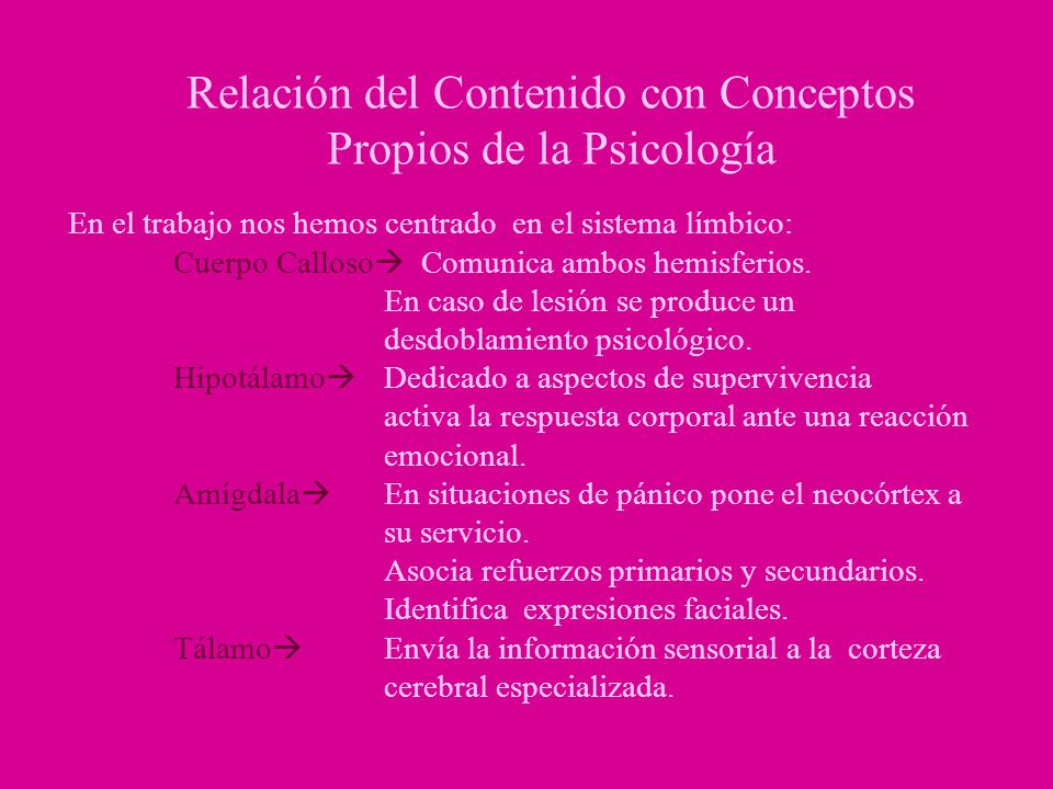 Relación del Contenido con Conceptos Propios de la Psicología