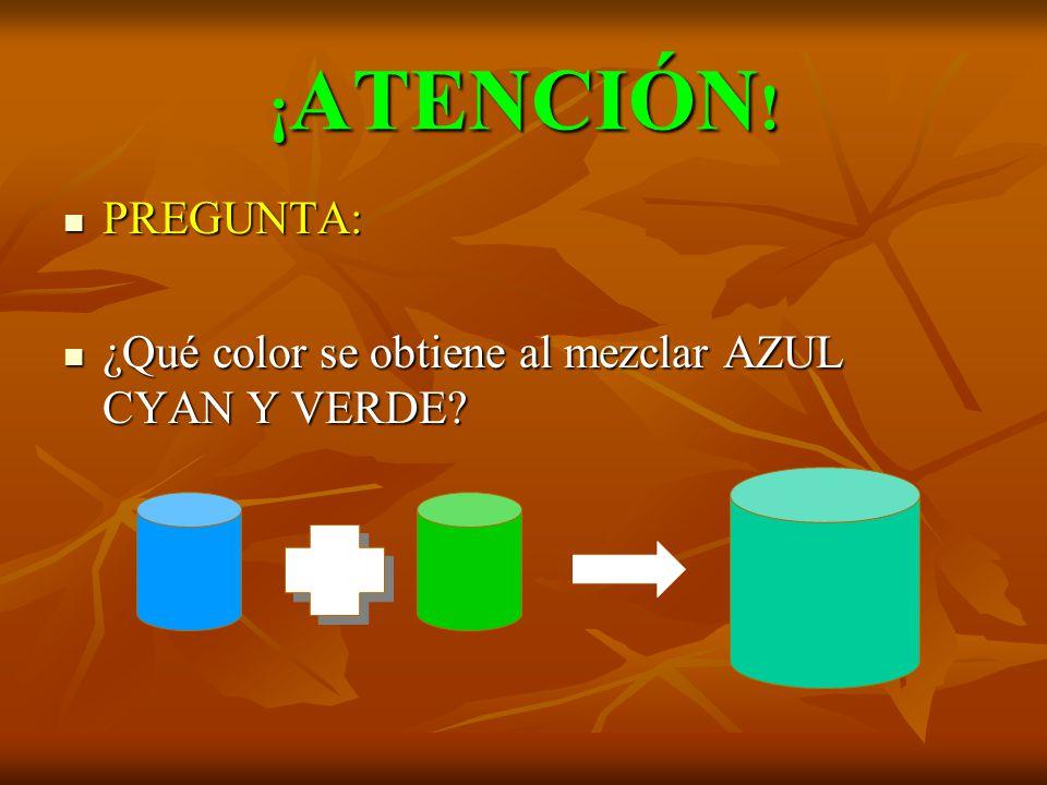 ¡ATENCIÓN! PREGUNTA: ¿Qué color se obtiene al mezclar AZUL CYAN Y VERDE