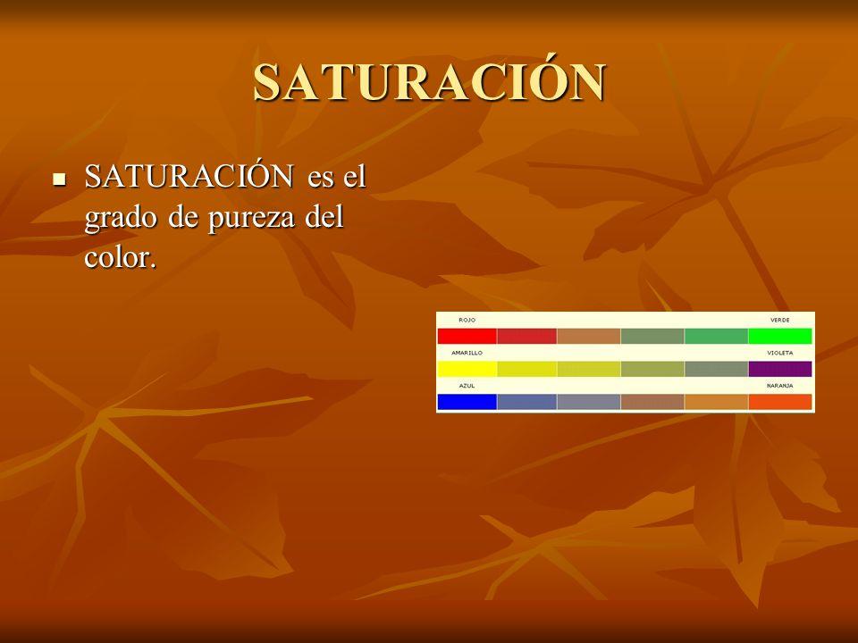 SATURACIÓN SATURACIÓN es el grado de pureza del color.