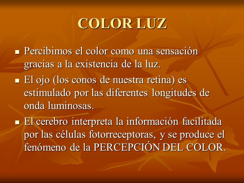 COLOR LUZ Percibimos el color como una sensación gracias a la existencia de la luz.