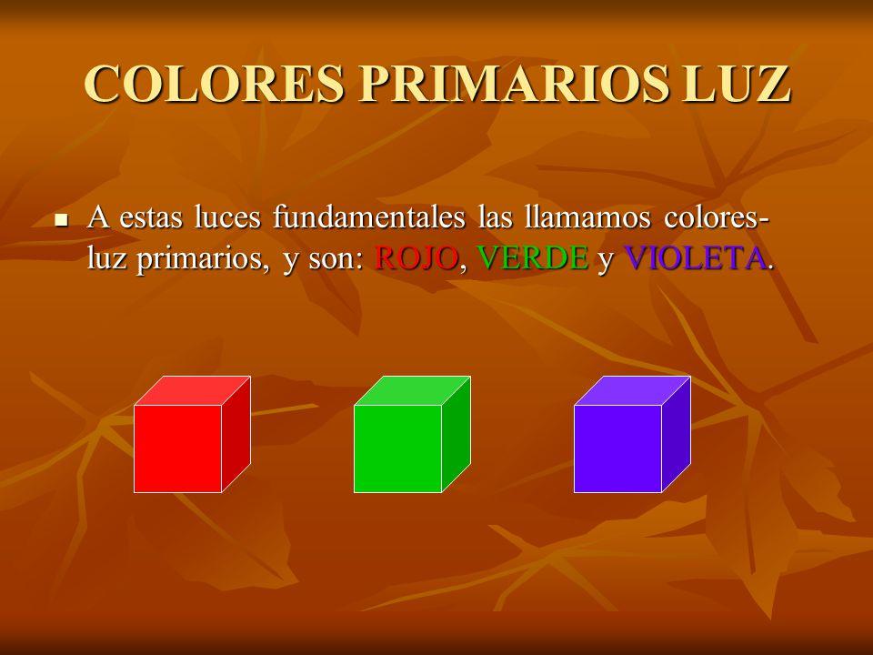 COLORES PRIMARIOS LUZ A estas luces fundamentales las llamamos colores-luz primarios, y son: ROJO, VERDE y VIOLETA.