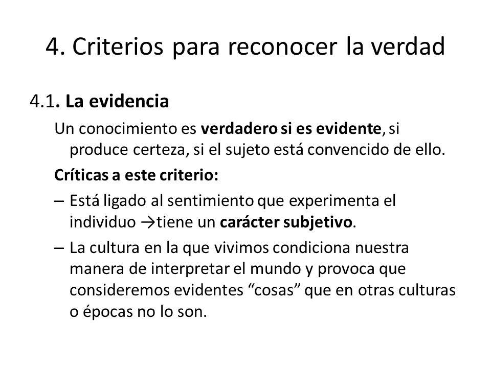 4. Criterios para reconocer la verdad