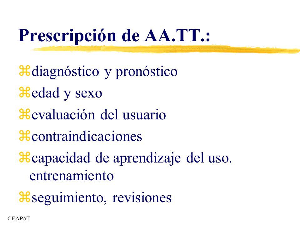 Prescripción de AA.TT.: diagnóstico y pronóstico edad y sexo