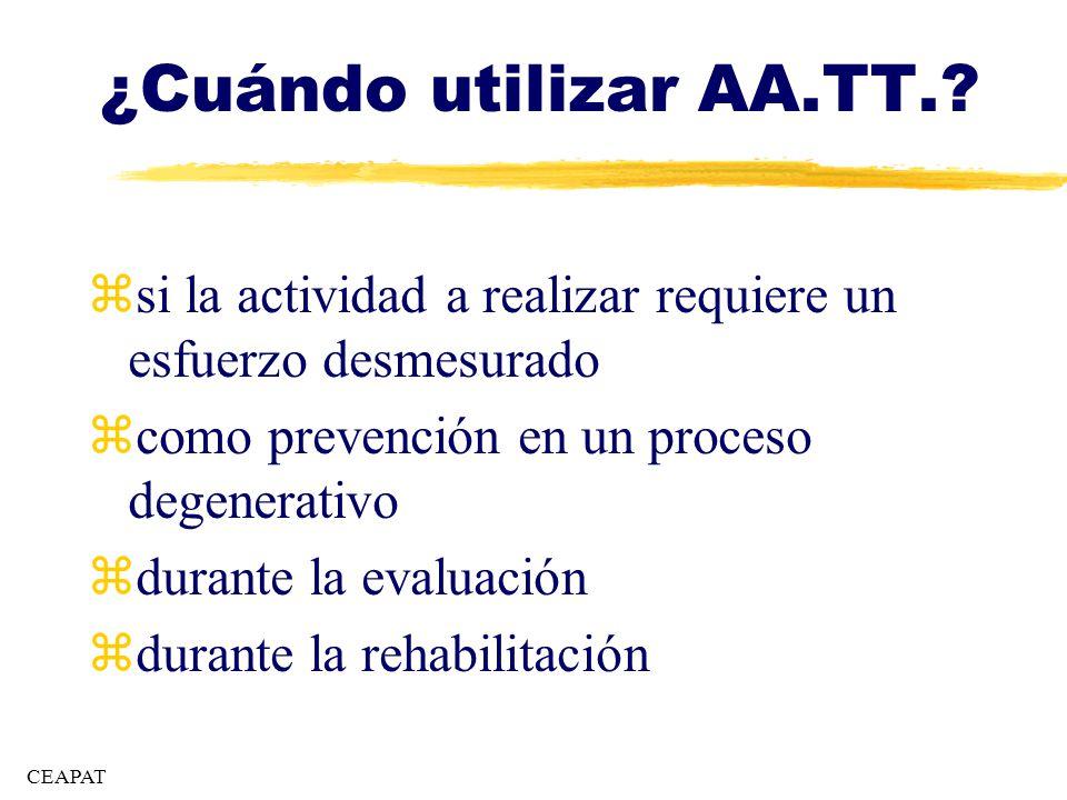 ¿Cuándo utilizar AA.TT. si la actividad a realizar requiere un esfuerzo desmesurado. como prevención en un proceso degenerativo.