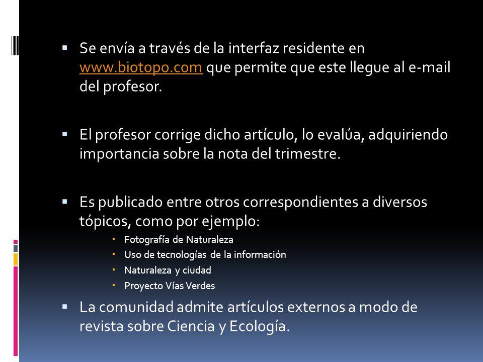 Se envía a través de la interfaz residente en www. biotopo